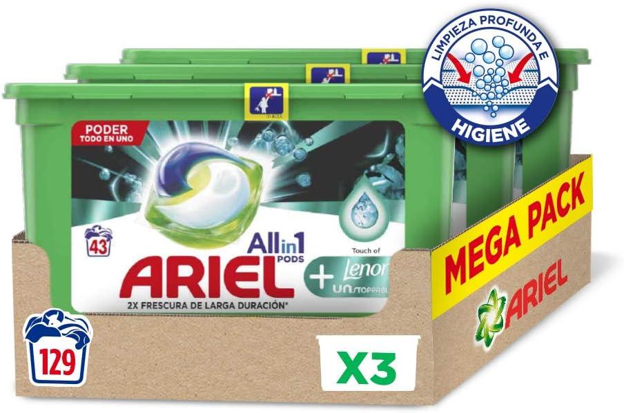 Ariel Allin1 Pods UNstoppables - Detergente en cápsulas para la lavadora, fragancia Lenor UNstoppables, 129 lavados (3 x 43)