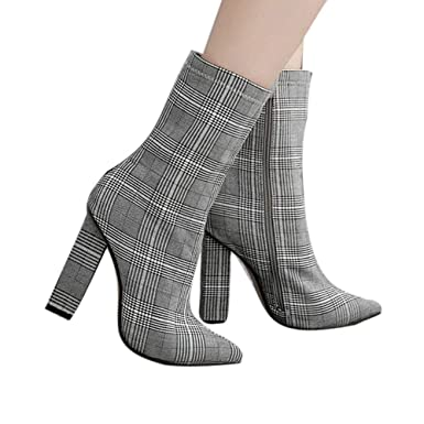 205f61c1bdab Amazon.com  Gyoume Plaid High Heel Boots Women Winter Tick Bottom Boots  Shoes Keen High Boots Shoes Office Work Dress Boots  Clothing