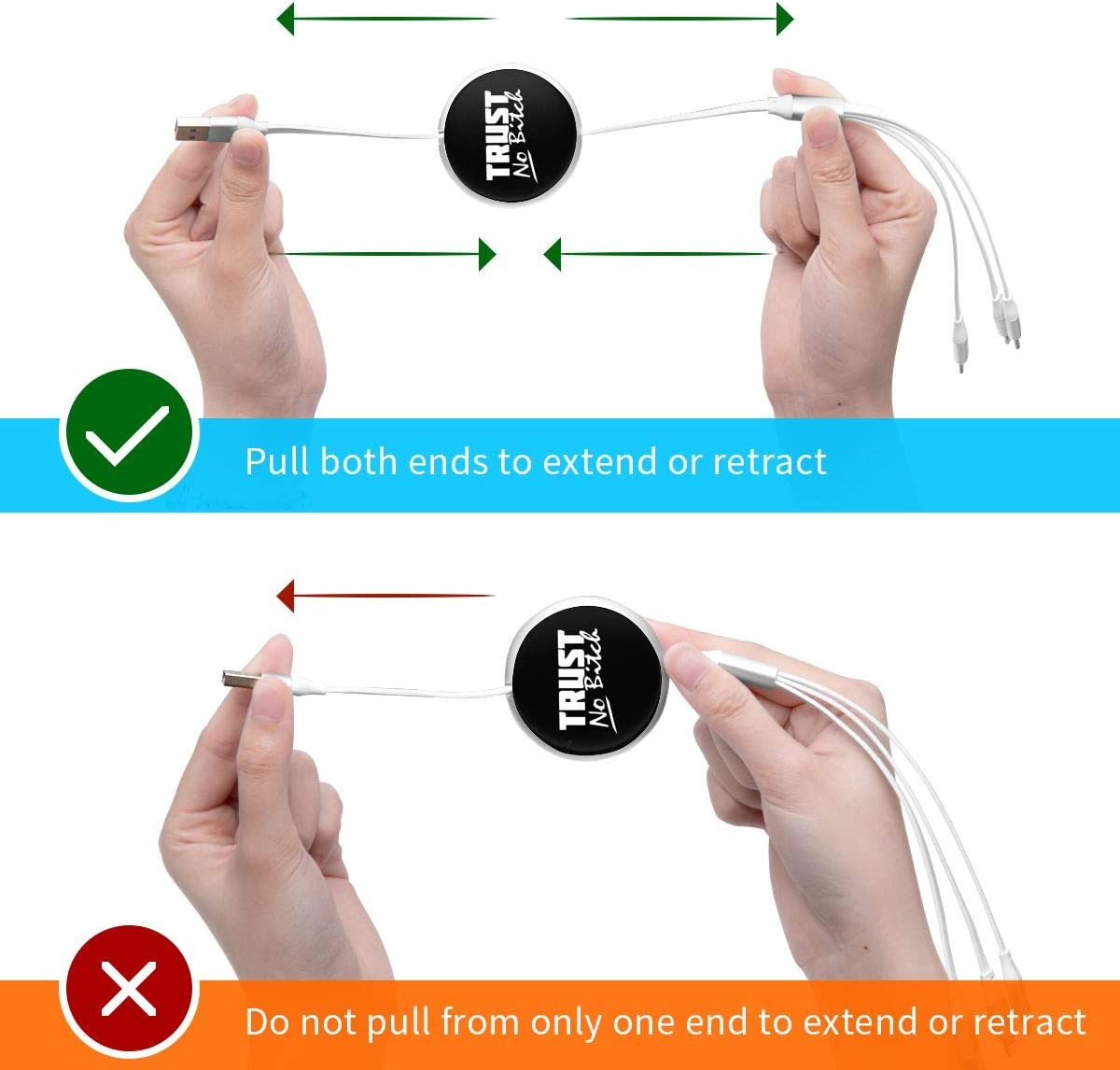 Trust No Bitch 3 in 1 Multiple USB Stretch Charger Cord with Micro,Type C,iOS Connectors with Cell Phone Tablets More