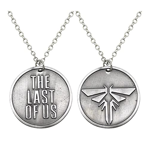 Amazon antique silver plated the last of us engraved and antique silver plated the last of us engraved and firefly round charm pendant necklace aloadofball Image collections