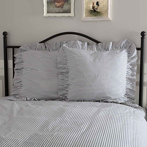 (Piper Classics Farmhouse Ticking Stripe Blue Euro Sham, 26