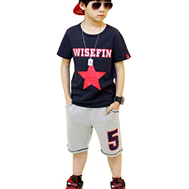 65aeb81b6e163 NABER Kids Boys  Star Pattern Short Sleeve Top   Shorts Set Outfit Age 5-14  Yrs  Amazon.co.uk  Clothing