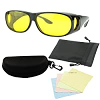 "MaxAike1 Wrap Around Glasses Night Vision Yellow,25"" X 13"""