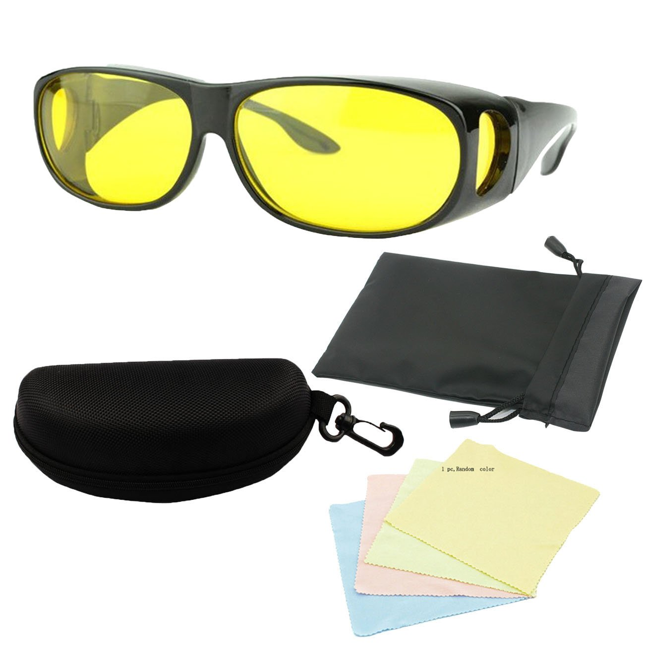MaxAike1 Wrap Around Glasses Night Vision Yellow, 25 X 13 25 X 13 Generic