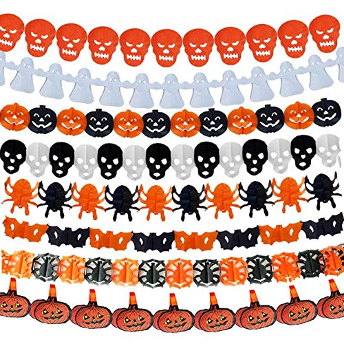 Halloween Paper Garland Crafts (WeiMo Paper Garlands,5 X 10ft Hanging Glitter Round Dots Paper Garlands for Art Craft DIY Home Decoration Windows Décor Wedding & Party Décor Bridal Showers (Halloween,)