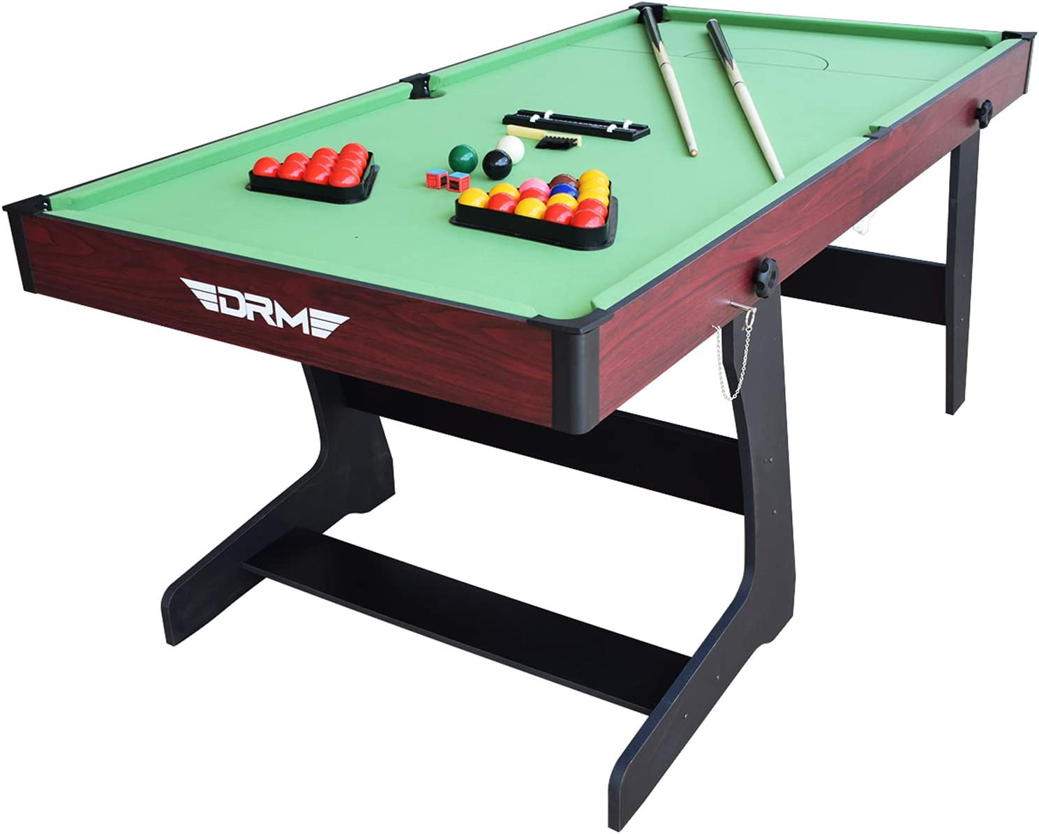 DRM 6FT Folding Snooker//Pool Table Space Saving Billiards Table With Balls And Other Accessories