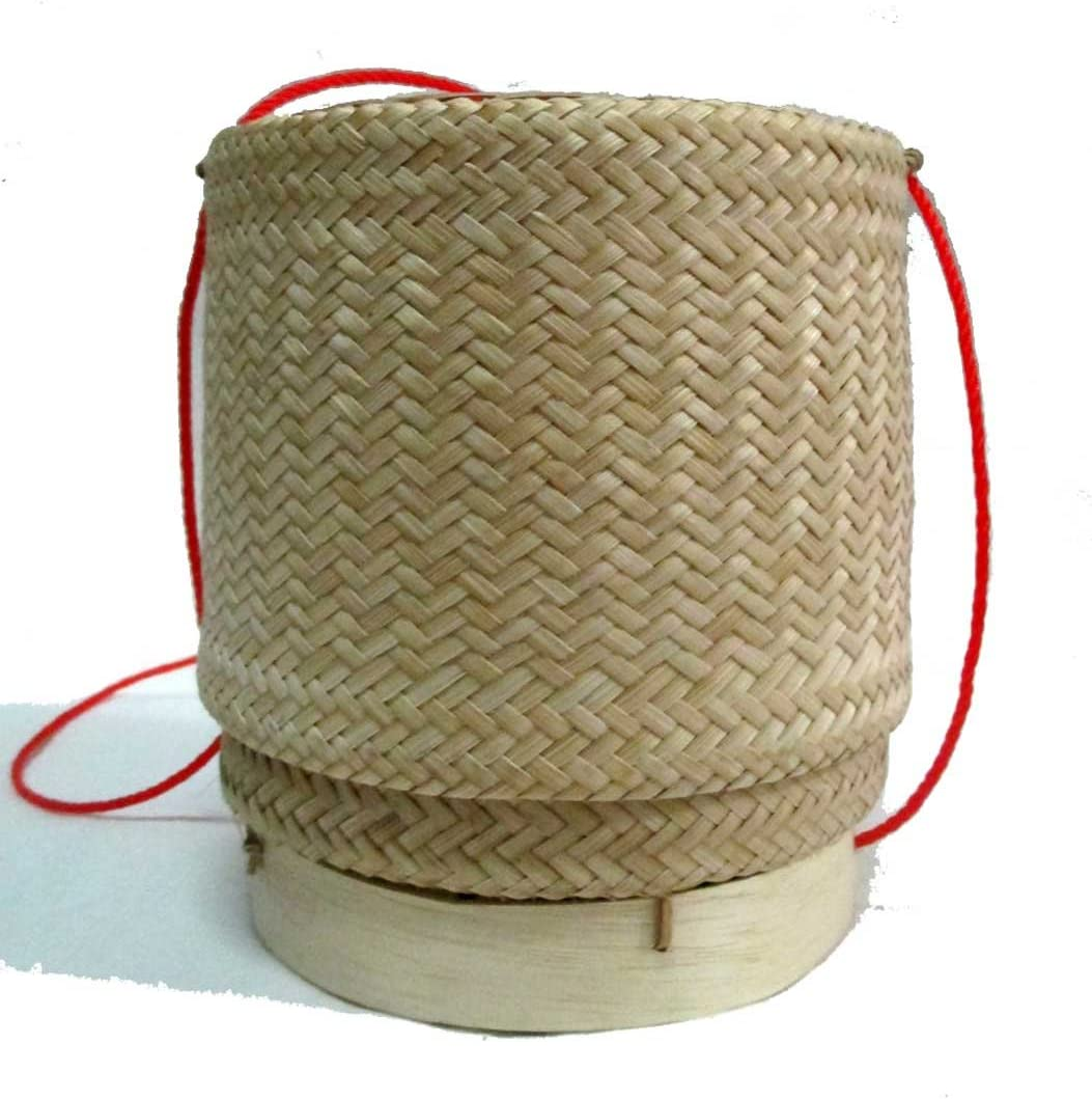 Thai Lao Handmade Sticky Rice Serving Bamboo Basket //5.5x4.75