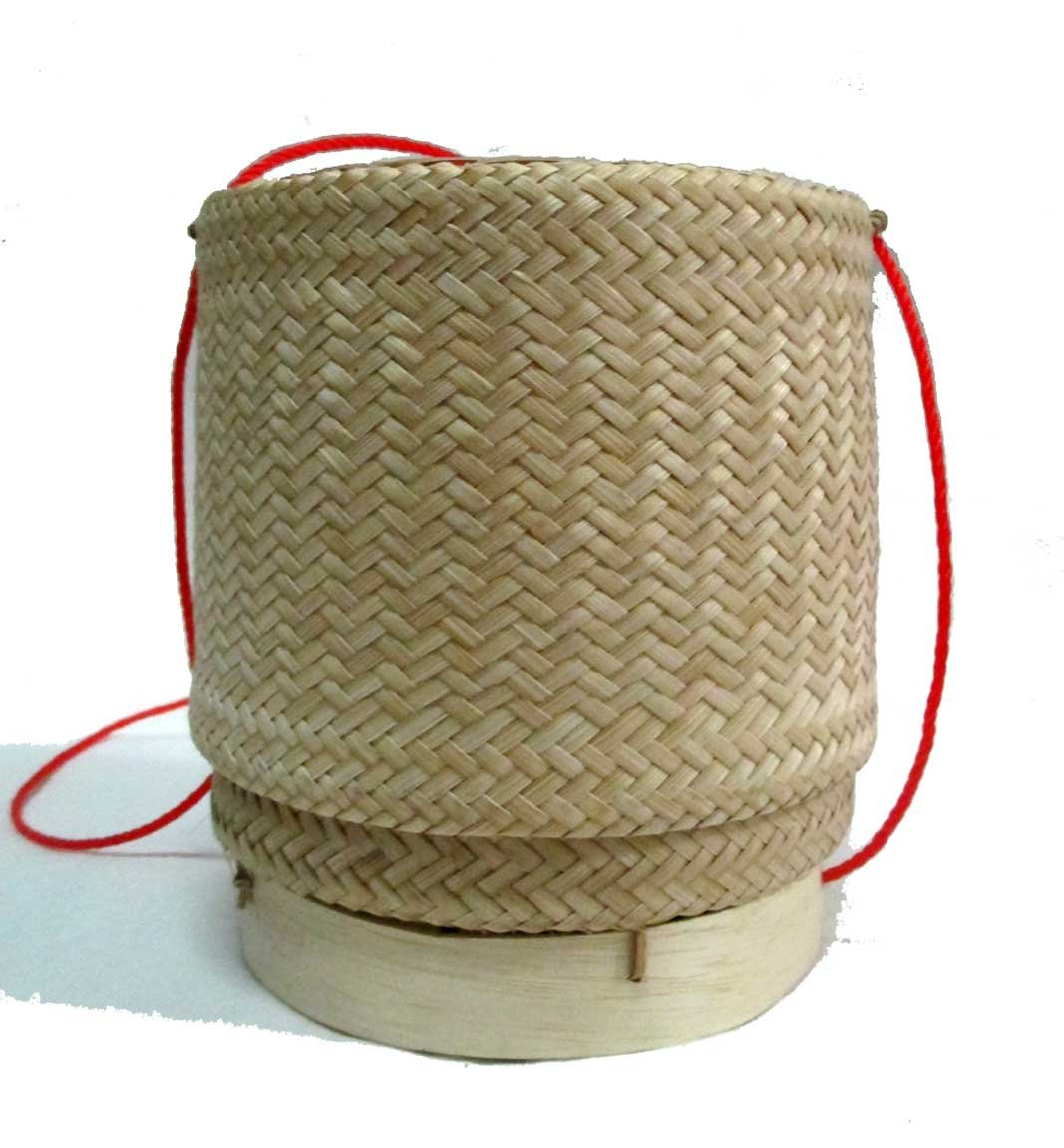 Thai Lao Handmade Sticky Rice Serving Bamboo Basket /5.5''x4.75''