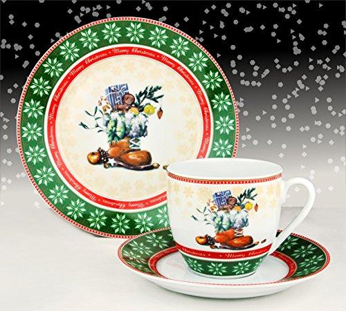 Kaffeeservice Waldweihnacht 18tlg. für 6 Personen weiß mit Weihnachtsdekor