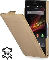 StilGut Esclusiva custodia UltraSlim in pelle per Sony Xperia Z, sabbia old style