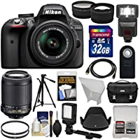 Nikon D3300 Digital SLR Camera & 18-55mm G VR DX II (Black) with 55-200mm VR II Lens + 32GB + Case + Tripod + Flash + LED Light + Tele/Wide Lens Kit At A Glance Review Image