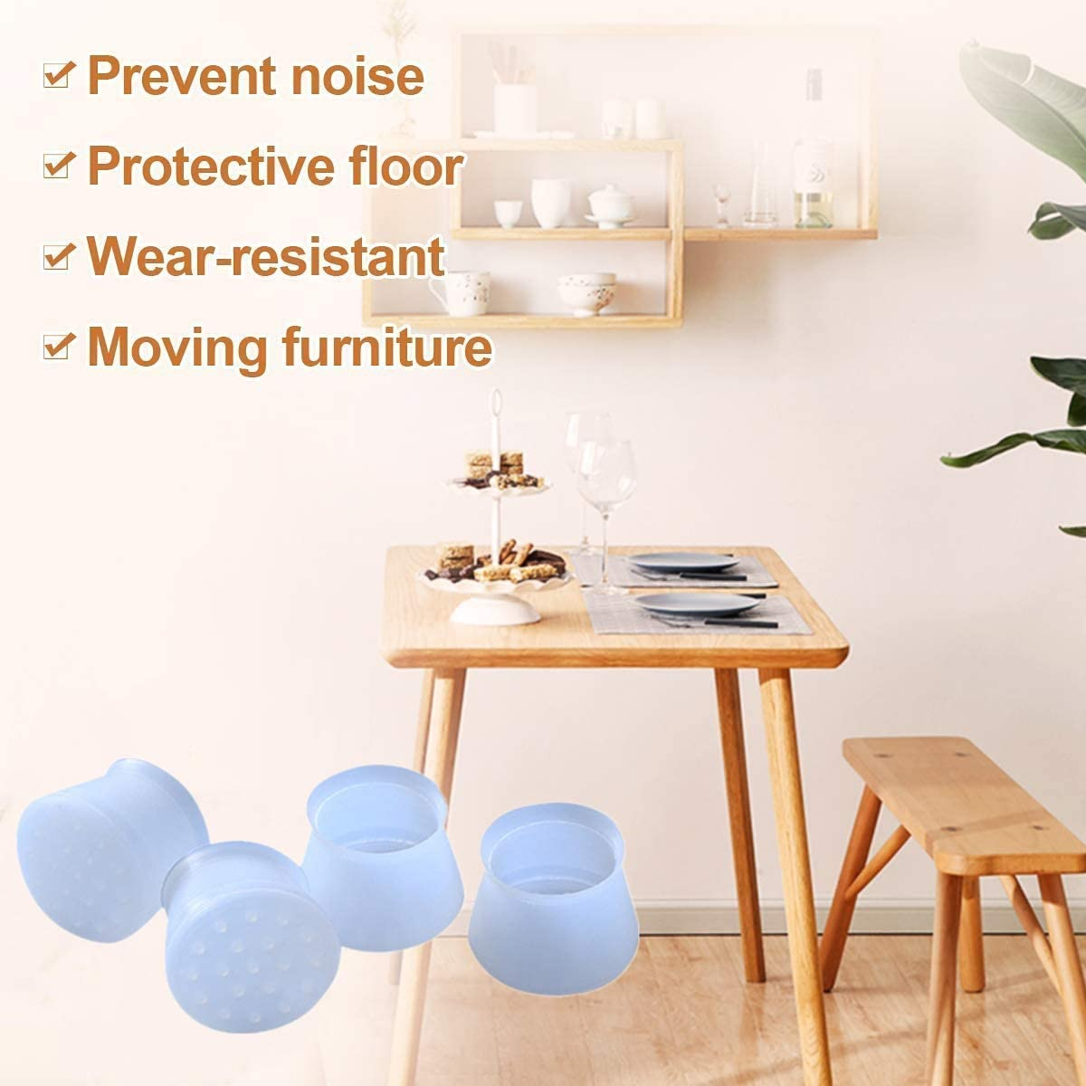 Prevents Scratches and Noise Without Leaving Marks SIQDAK Furniture Silicon Protection Cover,Chair Leg Caps,Anti-Slip Bottom Chair Pads Round