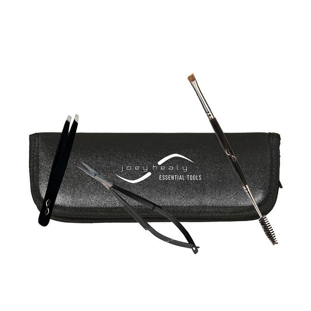 Eyebrow Tools Essentials Kit, Brow Scissor, Elite Sculpting Tweezer, Duo Brow Brush & Black Case by Joey Healy