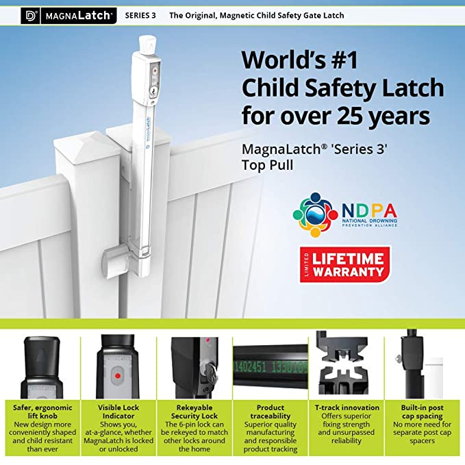 D/&D Technologies MagnaLatch ML3TPKA Top Pull, Magnetic, Key-Lockable, Black for Any Square Post gate Pool /& Child Safety Gate Lock /& Latch