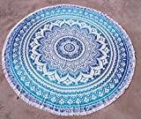 Montreal Tappassier Mandala Tapestry Single Cotton Printed Wall Hanging Dorm Decor Bedspread (Blue Roundies)