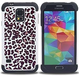For Samsung Galaxy S5 I9600 G9009 G9008V - fur pattern dots animal fashion Dual Layer caso de Shell HUELGA Impacto pata de cabra con im??genes gr??ficas Steam - Funny Shop -