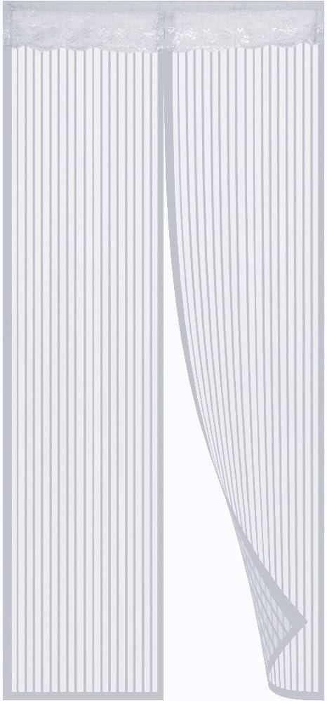 Mosquitera puerta magnetica - Puerta mosquitera Mosquitera con imanes y marco completo Velcro Mantenga alejado de los mosquitos, la cortina de malla se adapta a la puerta (Blanco)