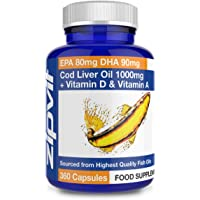 Cod Liver Oil 1000mg, 360 Capsules of High Strength Fish Oil, Rich in Omega 3. Supports Heart Health, Brain Health, Eye Health and Normal Blood Pressure.