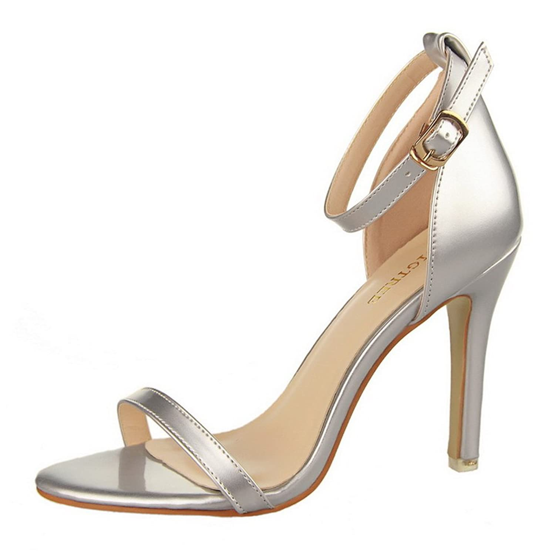 Topteck Women's High Heels Open Toe Ankle Strap Platform Casual Stiletto Pumps Sandals