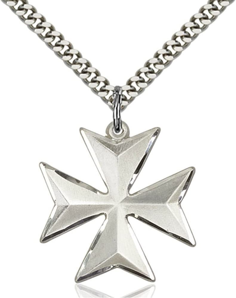 Sterling Silver Maltese Cross Pendant 7//8 X 7//8 inches with Heavy Curb Chain