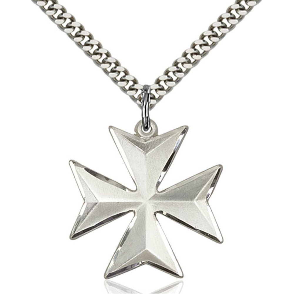 Sterling Silver Maltese Cross Pendant 7/8 X 7/8 inches with Heavy Curb Chain