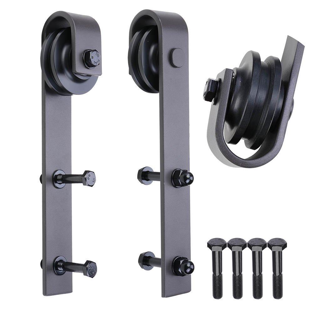 TCBunny Sliding Barn Door Hardware Antique Style Roller - Black (2 Pack)