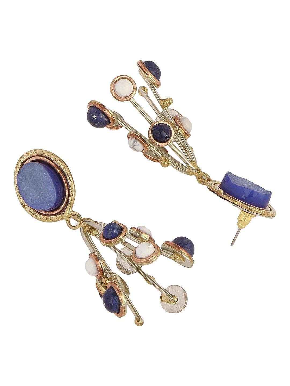 Zerokaata/Fashion Jewellery Blue Druzy Lapis Lazuli and Howlite Handmade Jewellery Earrings For Women /& Girls