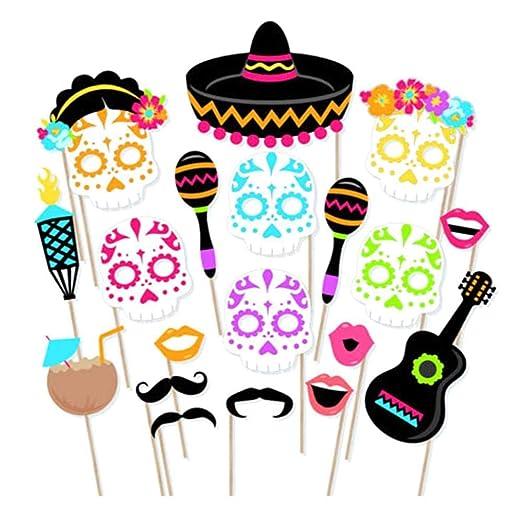 AOLVO Fiesta - Juego de Accesorios para fotomatón, 21 Piezas, diseño de Calaveras mexicanas, Ideal para Fiestas de cumpleaños, Bodas