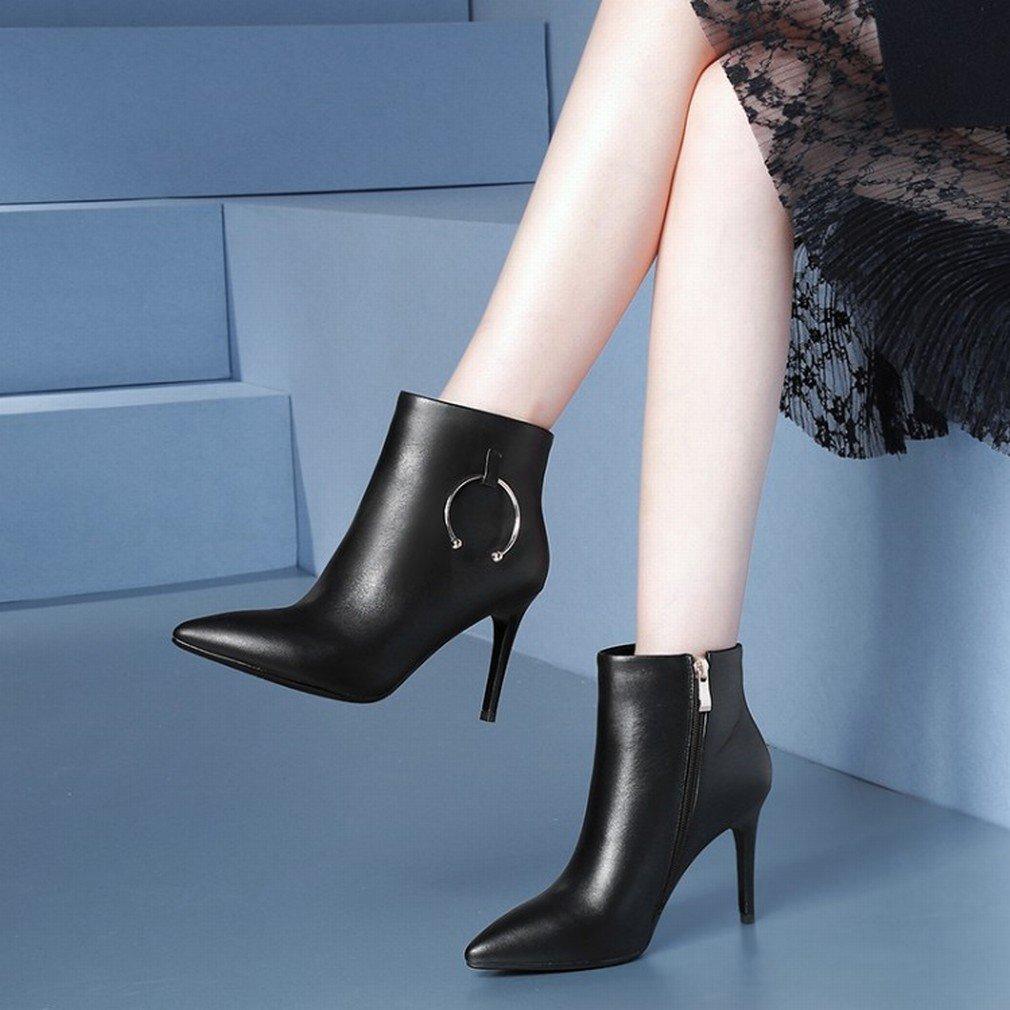 XAI Zapatos Europeos Y Americanos Marea Botas de Otoño E Invierno con Botas Altas Martin Tacón Alto,Negro,35 35