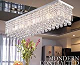 Dst Modern Luxury Rain Drop Rectangle Clear K9 Crystal Chandelier Ceiling Lights with 5 Lights for Living Room Bedroom or Study Room L31.5 X W10 X H8.8