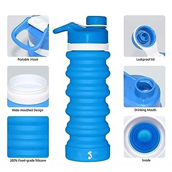 cdcba9ca06b5 sunyou Portable Collapsible Water Bottle - Leak Proof Twist Cap Food Grade  Silicone BPA Free Telescopic Sports Bottle, 18.8 Oz
