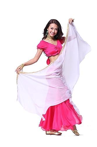 200cmx70cm lndian gasa de danza del vientre Danza del Vientre Velo de seda mano teñida