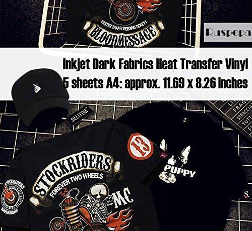 Ruspepa Inkjet Iron-on Black or Dark Fabric T-Shirt Transfers, Inkjet Printable Transfer Paper, A4 Sheets 5 Pack