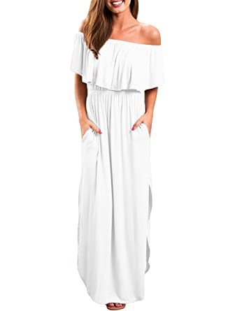 f1a6079f0b MIDOSOO Womens Side Slit Off Shoulder Ruffled Long Maxi Dress with Pockets  at Amazon Women's Clothing store: