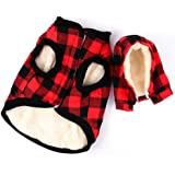 Rantow Windproof Pet Dog Jacket Winter Coat Detachable Hat Cold Weather Dog Vest Red Plaid/Blue Plaid Puppy Hoodie Sweater Clothing Outfits (S, Red Plaid)