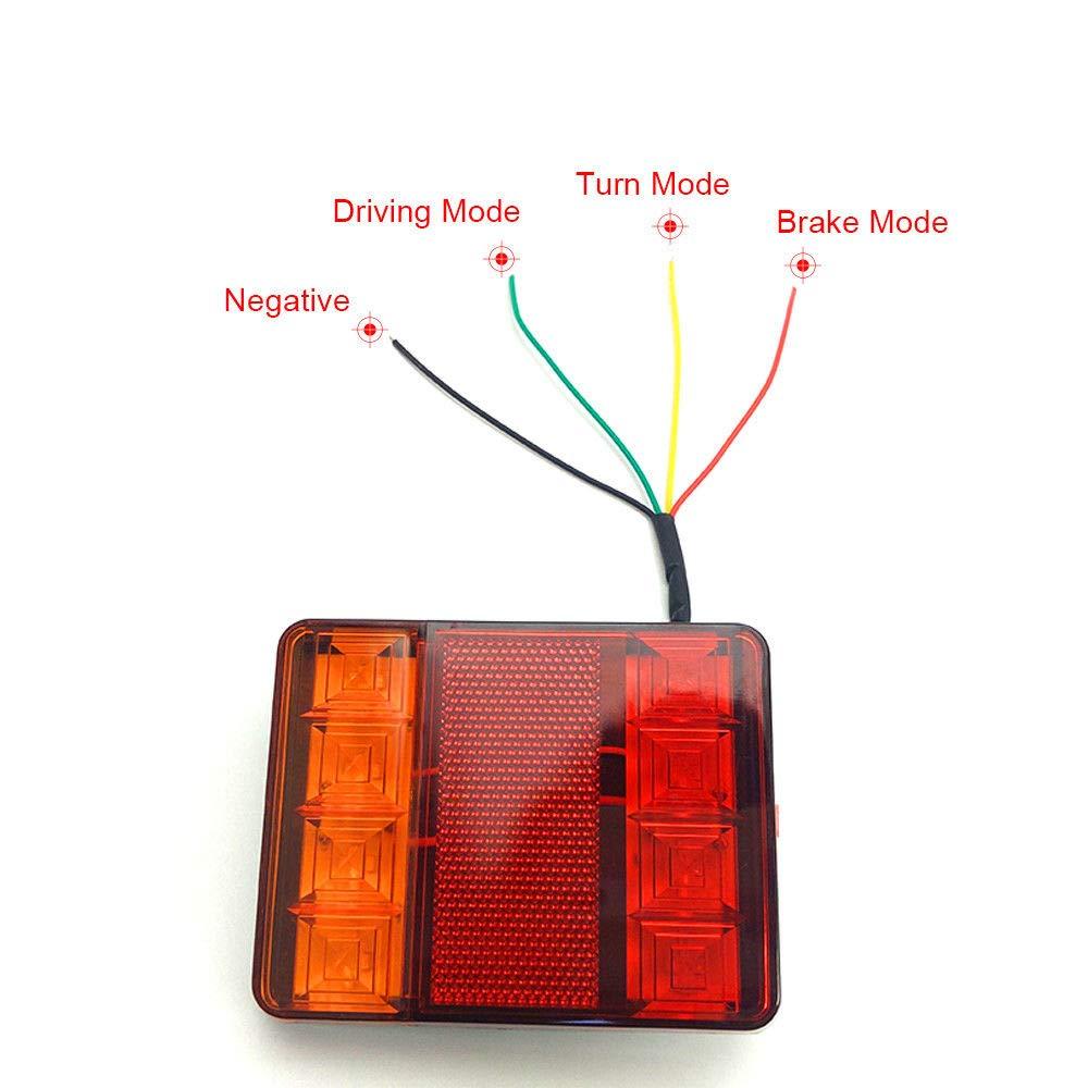 Feux de Stationnement Arri/ère Clignotants Orange R/éflecteur de Marqueur Lat/éral Rectangulaire pour Remorque de Camion /à LED KKmoon 2pcs lumi/ères de Remorque Carr/ées LED