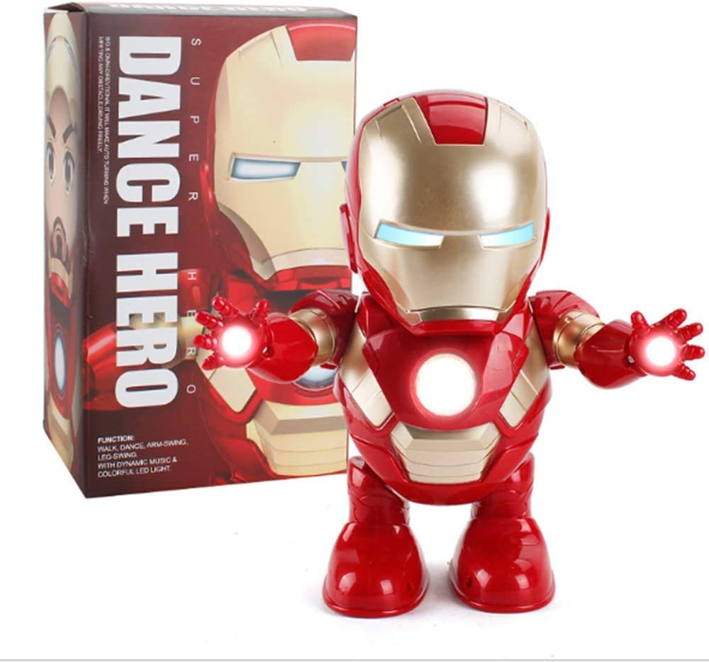 Iron Man Dance Avengers Hero Action Figure Robot Toys Dancing Music with Light