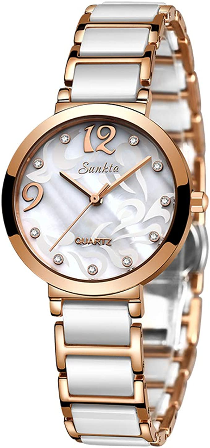 LIGE Womens Analog Quartz Watches Waterproof Dress Elegant Diamond Wrist Watches for Women with Rose Gold Stainless Steel & White Ceramic Band