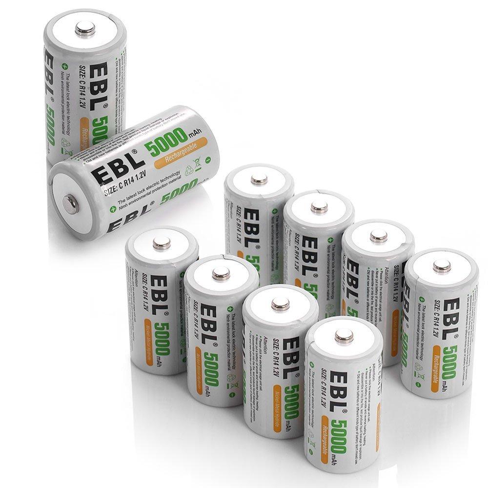EBL 5000mAh Ni-MH Rechargeable C Batteries, 10 Pack by EBL