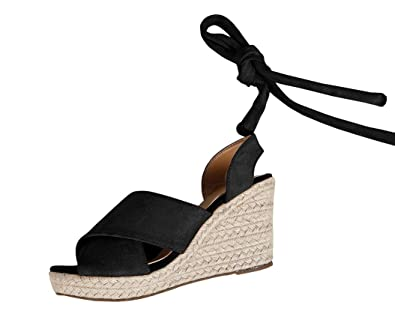 02ebb74c02e Womens Espadrille Platform Wedge Cross Strap Peep Toe Lace up Mid Heel  Sandals