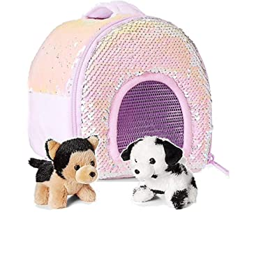 Justice Pet Shop Bundle, Two Miniature Puppy and Flip Sequin Carrier: Office Products