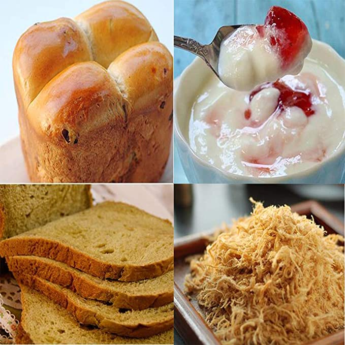 Maquina para hacer pan, Casa Completamente automático Multifunción Máquina para hornear pan, Ajuste libre de gluten, Dispensador de frutas y tuercas, ...