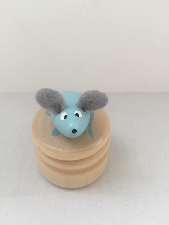 Ulysse Boite /à dent de lait en bois souris bleue avec couvercle /à visser enfant