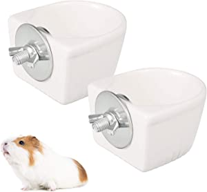 Aoliandatong 2Pcs Small Animal Food Bowl, Removable Hanging Food Water Bowl Cage Coop Cup for Hamster Rat Ferret Squirrel Guinea Pig