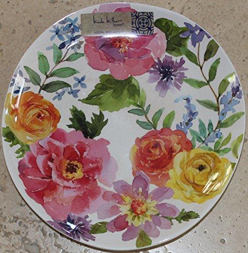 Nicole Miller Spring Rose Melamine Salad Plates - Set of 4 - Slightly Oblong- 7-7/8