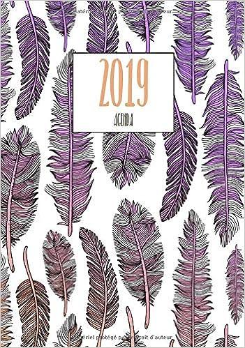 Agenda 2019: Motif Plumes, Taille 17x22 cm, agenda de poche ...