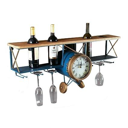 Portaequipajes montado en la Pared Modelo de avión de Hierro Retro Portavasos de Vino Sostiene 4
