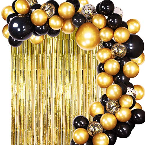 JOYYPOP DIY Black Gold Balloon Garland Arch Kit with Balloons Gold Tinsel Curtain for Wedding Birthday Party Supplies Decorations