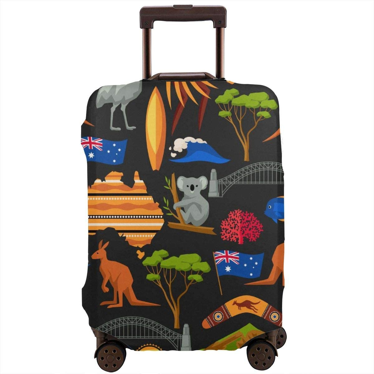 Australian Traditional Symbols Travel Luggage Cover Suitcase Protector Washable Zipper Baggage Cover