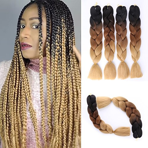 Ombre Jumbo Braid Hair Extensions 4Pcs/Lot 100g/pc Kanekalon Synthetic Fiber for Twist Brading Hair(Black-Dark Brown-Light Brown) ()